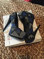 Insanity Black ,Black and Silver Studed Heels Size :7