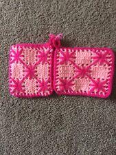 New listing 2 Vintage Yarn Crochet Hot Pads Potholders Pot Pan Holders Pink & Rose 7x51/2�