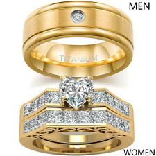 2 Rings Couple Rings Titanium Steel Mens Wedding Bands CZ Women's Wedding Rings