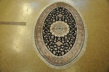 4x6 Silk Tabriz Handmade Discounted Rugs For Sale Black - Copper Carpet