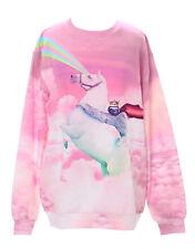 T-538 Rainbow caballo perezoso rosa nubes pastel Goth Lolita suéter sudadera