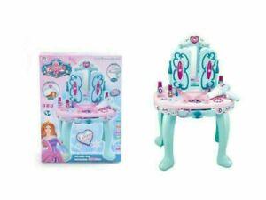 Girls Beauty Mirror Makeup Dressing Table Stool Playset Vanity Light & Music UK