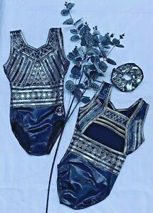 Liberty Girls open back Gymnastics Dance leotard with 100's of Crystals