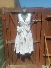 NOA NOA WHITE BLUE DOT WRAP TIE FRONT COTTON SUMMER DRESS SIZE M ( 12 )