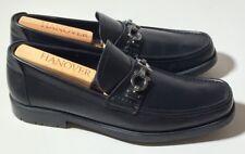 $560 SALVATORE FERRAGAMO Master Black Leather Loafers Mens Size US 9.5 D