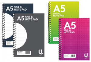 A5 Spiral Notebook Note Pad Wiro Wired Bond Pad Lined 80 Pages Jotter Journal