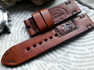 24mm Vintage old school Handmade leather watch strap, AMMO Punch, brown