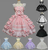 Women's Lolita Gothic Ruffle Bowknot Dress Ball Gown Cosplay Costumes Plus Size
