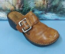 Born Clogs Mules Brown Leather Buckle Shoes  W61592 Women's SIZE 7/38