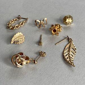 9ct Gold Single Earrings X 8 Scrap Or Wear 3g Hallmarked