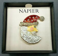 Napier Santa Claus Crescent Moon Face Christmas Brooch Pin Gold Tone