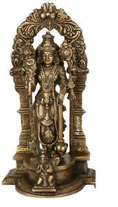 Brass Lord Bhagwan Vishnu Narayan Idol Figurine Statue 9 x 5.5 x 3 Inch Brown