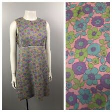 b9e46fe290d 1960s Dress   Floral Print Shift Cotton Sleeveless Mod Shirt Dress   Small