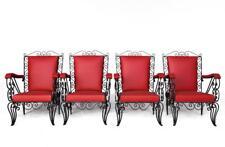 Série 4 fauteuils en fer forgé époque 1950 skaï rouge