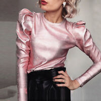 Sexy Ladies Puff Sleeve Crew Neck Blouse Shirt Office Party Slim Fit Tops Punk