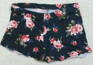 Joe Boxer Blue Woman's Flat Front Cut Off Shorts Floral Large Poly Spandex K9