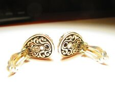 John Hardy Silver&18K press on earrings with/intricate Jaisalmer pattern design