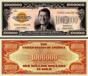 RONALD REAGAN BILLET MILLION DOLLAR US ! Président Américain gold certificate or