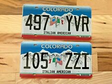 Colorado Italian American License Plate- Both Versions with Flag on Left & Right