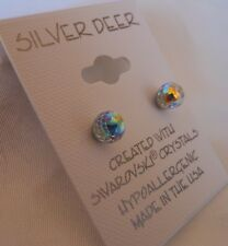 HYPOALLERGENIC Surgical Steel with Swarovski Elements Crystal Faceted Ball in AB