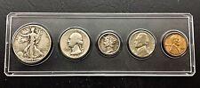 1945 - D  US 5-Coin BIRTH YEAR Set 50c, 25c, 10c, 5c & 1c in holder CIRCULATED