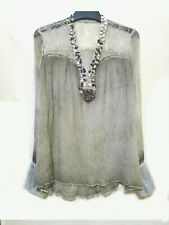 Gray wrinkled silk top with mother of pearl embellishments