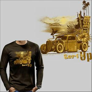 Hot Rod Tiki Stile T-Shirt Manica Vintage Kustom Car Oldtimer 1246 Braun Ls