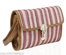 New Pink Striped Cross Body or Shoulder Canvas Bag with Light Brown Trim