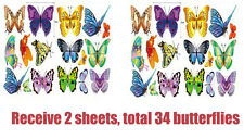 34 colorful butterfly sticker wall Decal Removable Art Vinyl Decor Nursery Large