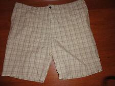* New Mens Size 44 44W Dockers Beige Plaid Shorts Casual Light Soft Khakis