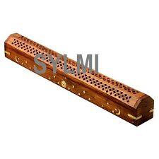 """JUMBO XL 19"""" Wooden Coffin Incense Burner/Sticks/Cone/Holder/Brass Inlay/Storage"""
