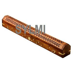 "JUMBO XL 19"" Wooden Coffin Incense Burner/Sticks/Cone/Holder/Brass Inlay/Storage"