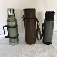 Aladdin Stanley Vacuum Bottle Thermos Handle Green Silver Lot/2 W/ Leather Case