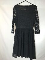 Next Size 8 Black Lace Effect Dress Long Sleeve Party Gothic Alternate