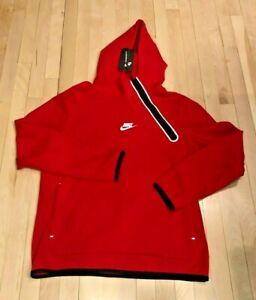 Nike Sportswear Tech Fleece Side-Zip Pullover Hoodie Red CU4493 657 Men's LARGE