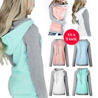 Women's Lady Hoodie Sweatshirt Hooded Jumper Long Sleeve Sweater Pullover Tops