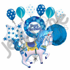 10 pc Blue Decorative Carousel Horse Balloon Bouquet Happy Birthday Carnival