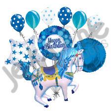 10 pc Blue Decorative Carousel Horse Balloon Bouquet Happy Birthday Carnival