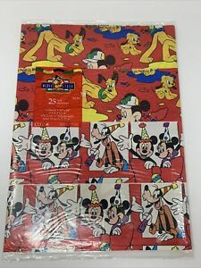Vintage Cleo Inc. Disney's Gift Wrap Paper Sheets 25 Sq Ft Mickey Pluto Goofy