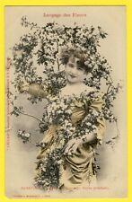 """cpa BERGERET Dos 1900 FEMME Langage des FLEURS """"AUBÉPINE"""" Journal L'ECLAIR"""
