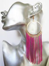 SeXy Big Pink Tassel Hoop Dangle Drop Earrings in Beaten Gold Tone