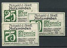 Holzminden 3 Scheine Notgeld Serie kompl. ( I )