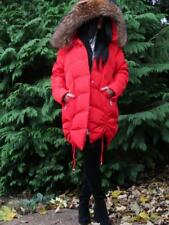 NEW 2018 OVERSIZED RED LONG QUILTED DOWN COAT JACKET FOX FUR HOOD BOMBER PARKA