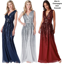 Goddiva Sequin Chiffon Belted Maxi Evening Dress Prom Party Bridesmaid Size 8-14