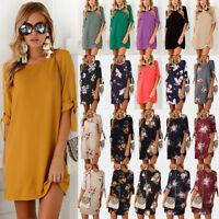 UK New Womens Summer Chiffon Ladies T-Shirt Tops Holiday Beach Party Mini Dress