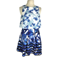 Romeo Juliet Couture M Floral Dress Fit Flare Pleated Layered Blue White