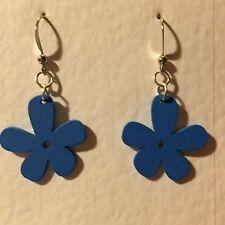 FUNKY BLUE WOOD 5 PETAL FLOWER DROP earrings SILVER PL RETRO 60'S 70'S POWER S