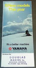 "1973 YAMAHA LEAFLET SNOWMOBILE SALES BROCHURE  4"" X 8 1/2""   (687)"