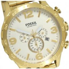 NEW FOSSIL NATE GOLD TONE,STAINLESS STEEL,CHRONOGRAPH BRACELET WATCH JR1479