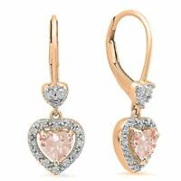 4Ct Pear Cut Morganite Drop/Dangle Earrings Solid 14K Rose Gold Plated